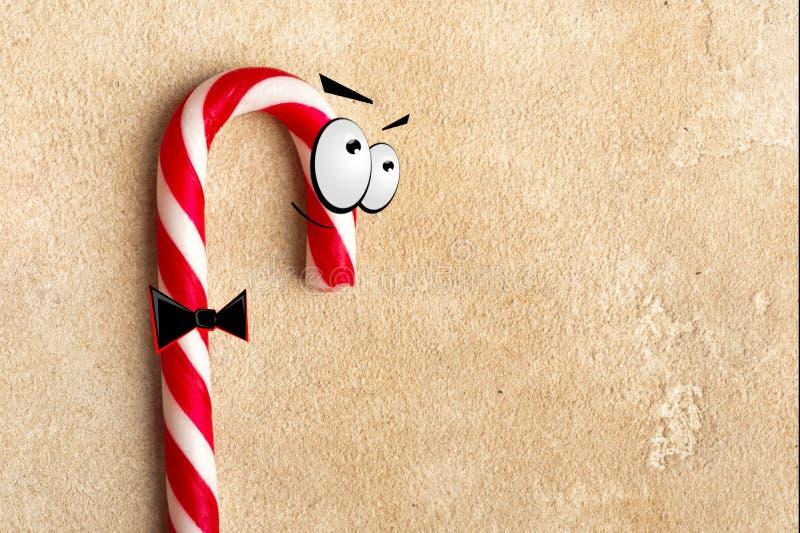 Тросточки конфеты рождества с глазами и связью стоковая фотография rf