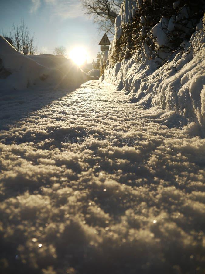 Тротуар снега зимы стоковое изображение rf