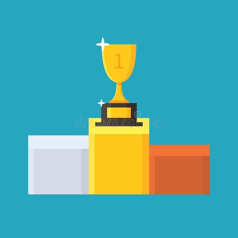 Трофей золота награженное первое место ПОДИУМ ПОБЕДИТЕЛЯ приз Плоский значок чашки также вектор иллюстрации притяжки corel бесплатная иллюстрация