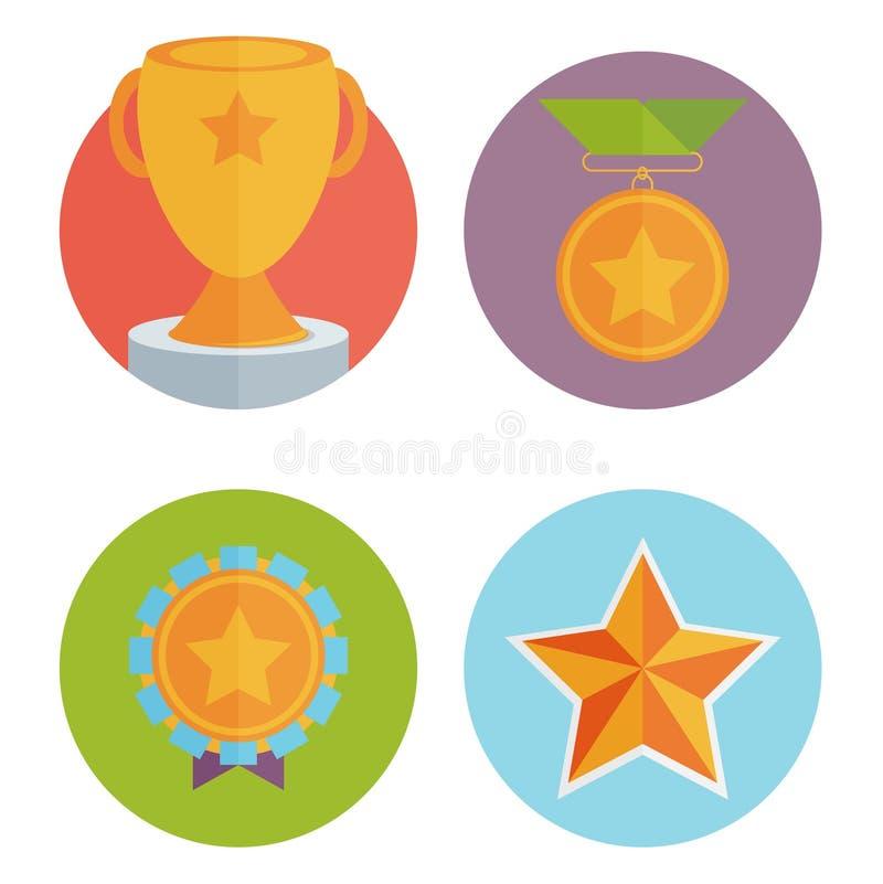 Трофей и награды в плоском стиле дизайна бесплатная иллюстрация