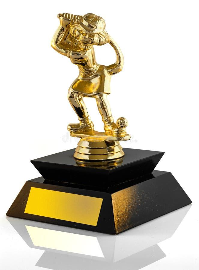 Трофей миниатюрного гольфа на белой предпосылке стоковые фото