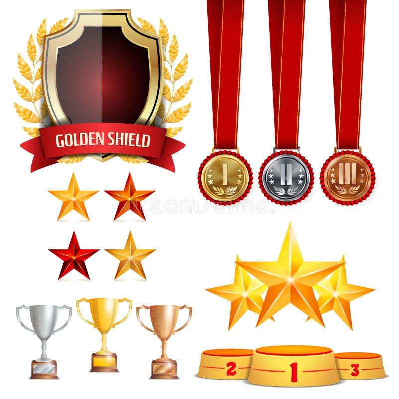 Трофей награждает чашки, золотой лавровый венок с красной лентой Реалистические золотые, серебряные, бронзовые медали достижения  бесплатная иллюстрация