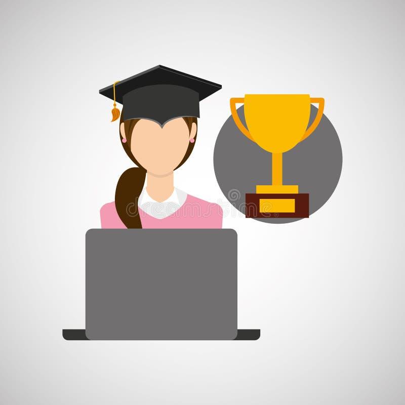 Трофей образования градации характера онлайн иллюстрация вектора