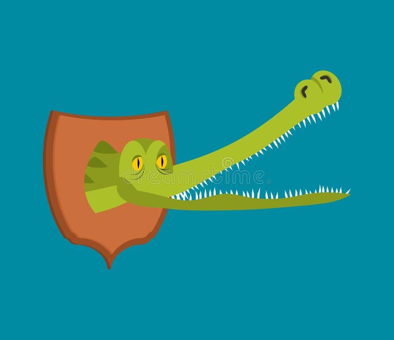 Трофей охотника крокодила голова аллигатора на экране Scarecr иллюстрация штока