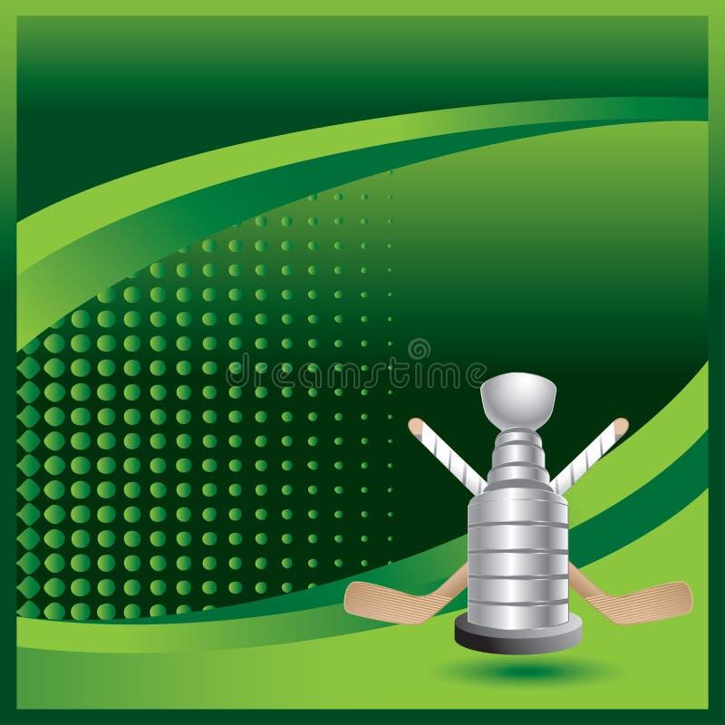 трофей ручек хоккея halftone объявления зеленый иллюстрация вектора