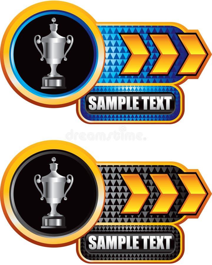 трофей стрелки черный голубой checkered разработанный бесплатная иллюстрация