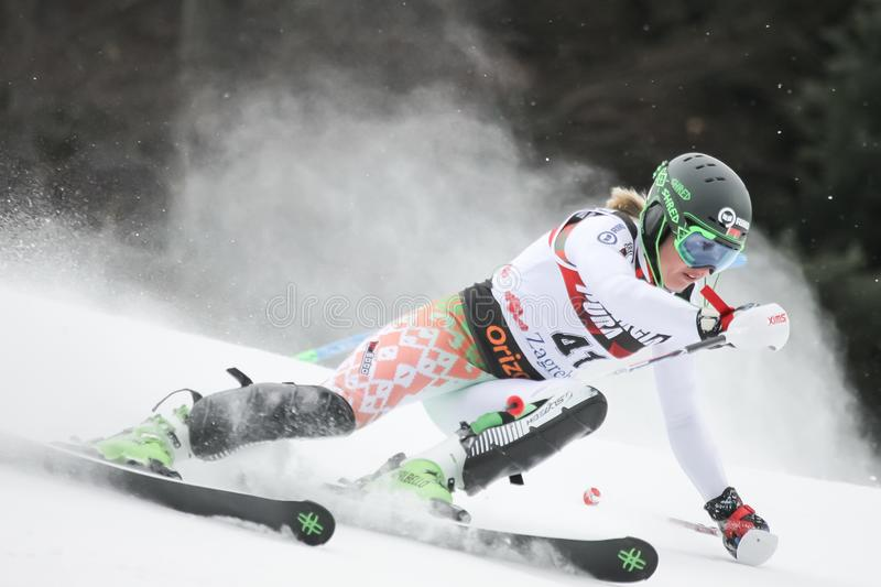 Трофей 2019 ферзя снега - слалом дам стоковое фото