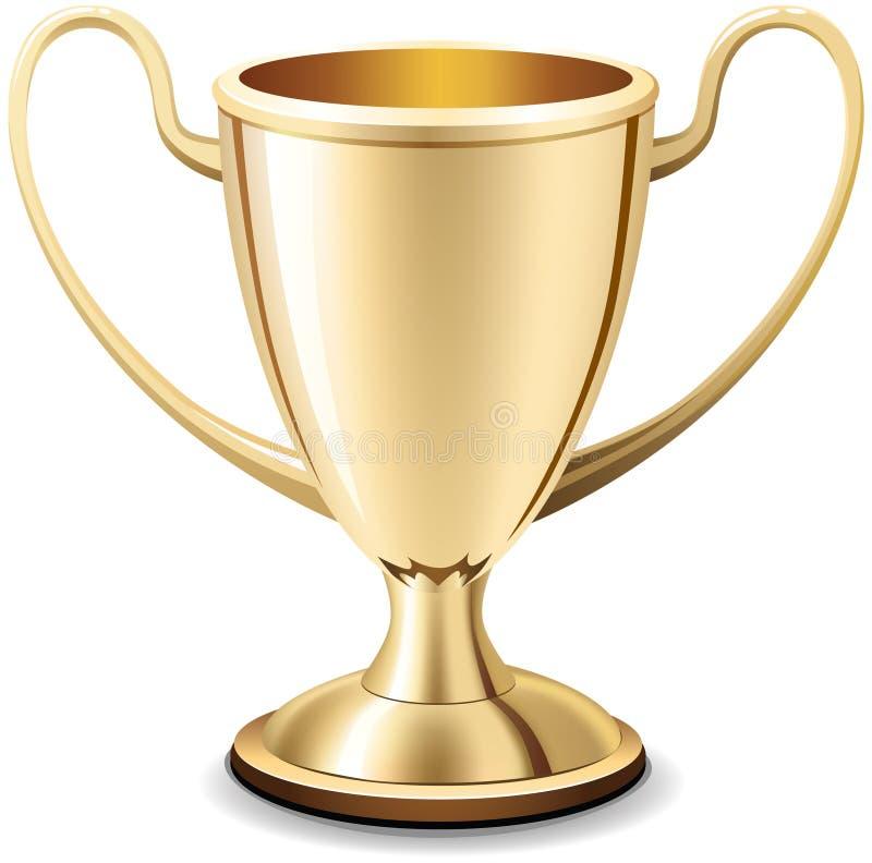 трофей чашки предпосылки изолированный золотом иллюстрация вектора