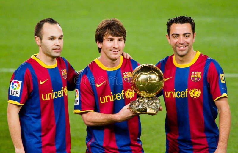 трофей fc barcelona шарика золотистый стоковые фото