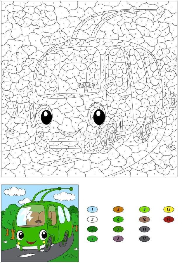 Троллейбус шаржа на дороге леса Цвет образованием номера иллюстрация вектора