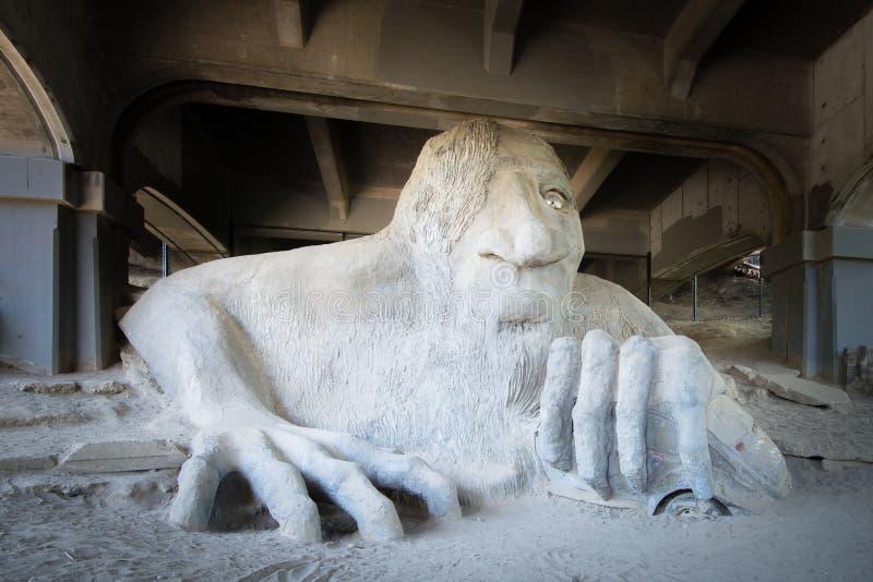 Тролль Fremont, мост рассвета, Сиэтл, WA стоковые фотографии rf