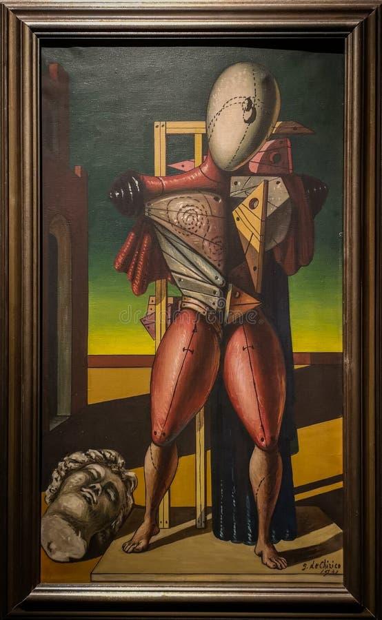 Трубадур, крася Giorgio de Chirico стоковые фотографии rf