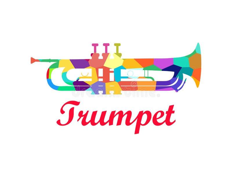 Труба - латунный музыкальный инструмент оркестра иллюстрация штока