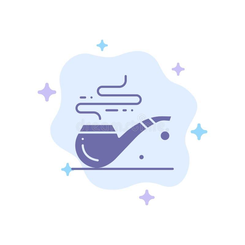 Труба, дым, St. Patrick, значок трубки голубой на абстрактной предпосылке облака иллюстрация вектора
