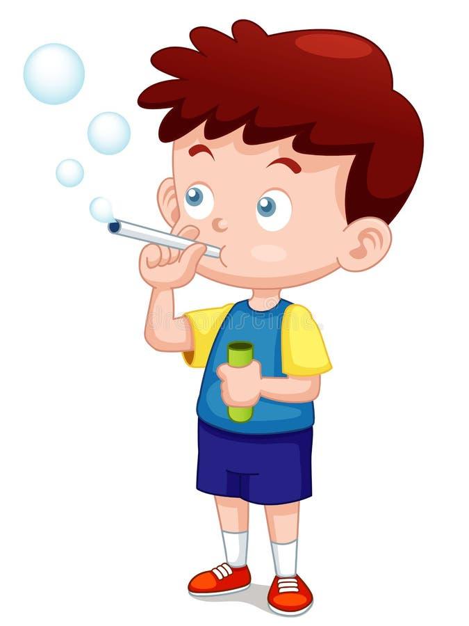 Труба пузырей игры мальчика иллюстрация вектора