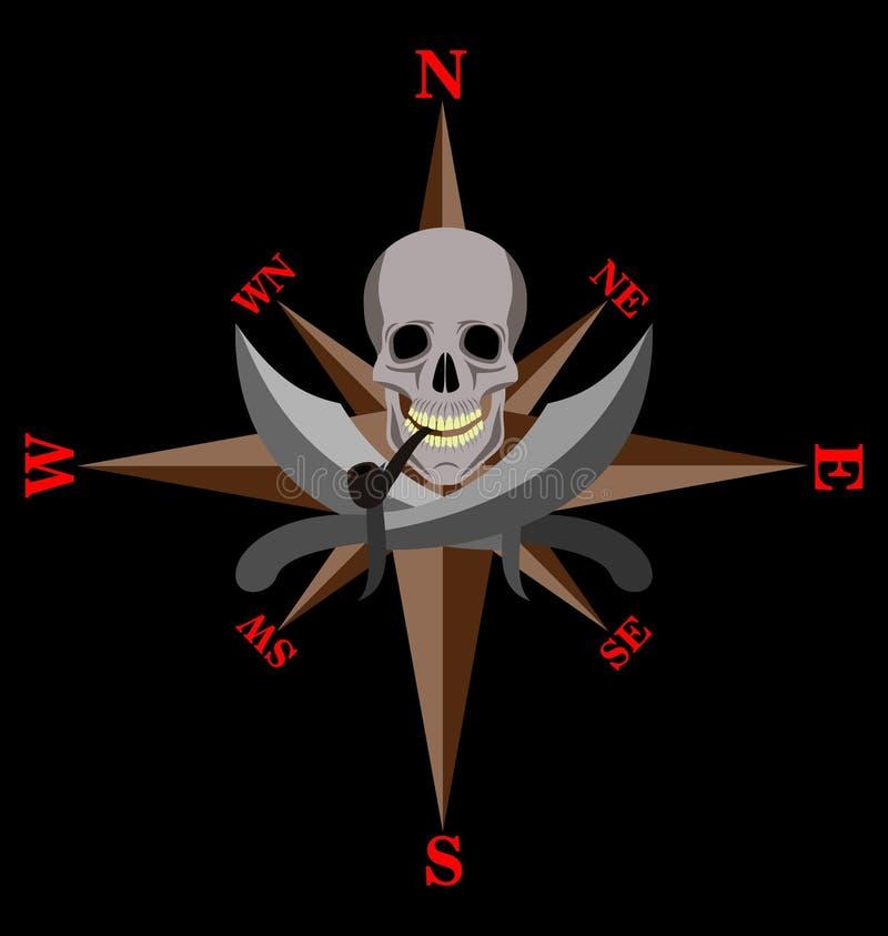 Труба черепа куря с саблями иллюстрация штока