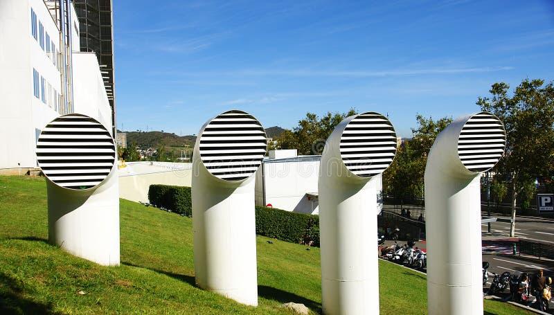 Трубки газировки и выход газа в общей больнице ³ n Hebrà ` Vall d в Барселоне стоковые изображения rf