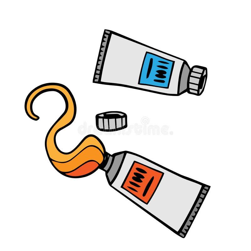 Трубки краски Иллюстрация Doodle трубки краски, клея Трубки руки вычерченные с краской, жидкостью бесплатная иллюстрация