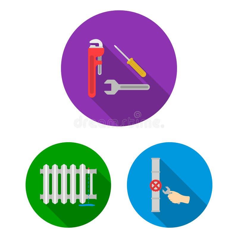 Трубопровод, приспосабливая плоские значки в собрании комплекта для дизайна Оборудование и инструменты vector иллюстрация сети за иллюстрация вектора