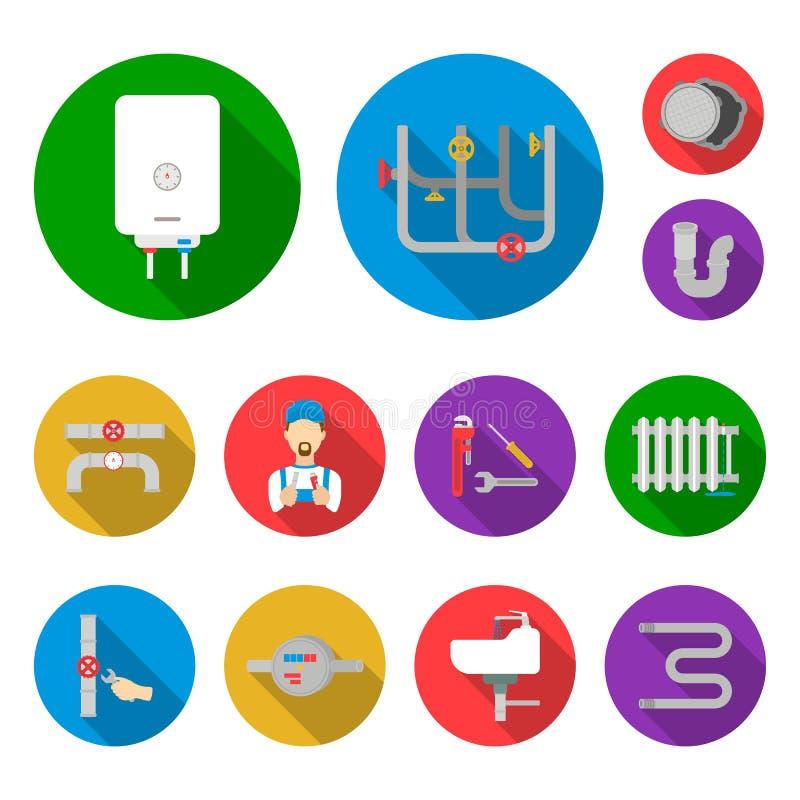 Трубопровод, приспосабливая плоские значки в собрании комплекта для дизайна Оборудование и инструменты vector иллюстрация сети за иллюстрация штока