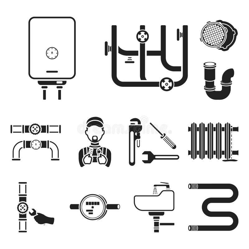 Трубопровод, приспосабливая черные значки в собрании комплекта для дизайна Оборудование и инструменты vector иллюстрация сети зап бесплатная иллюстрация