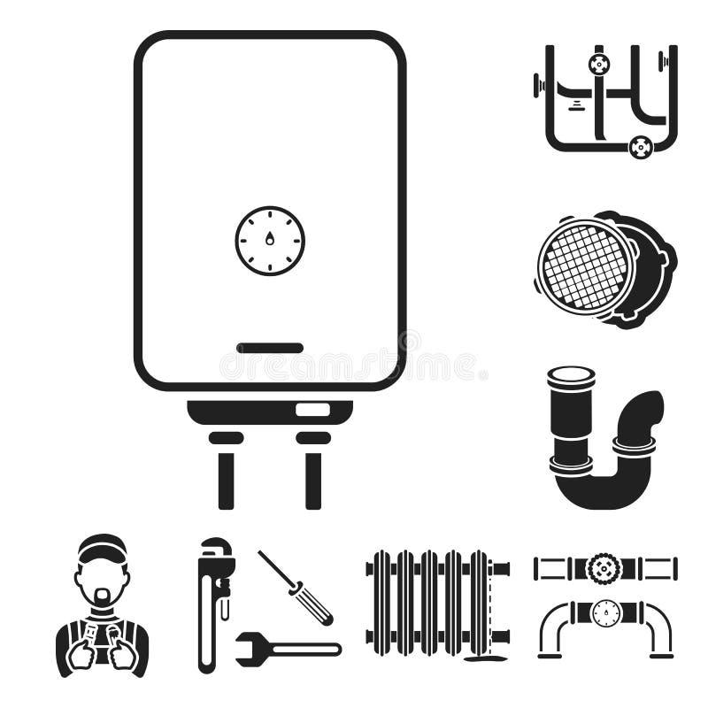 Трубопровод, приспосабливая черные значки в собрании комплекта для дизайна Оборудование и инструменты vector иллюстрация сети зап иллюстрация штока