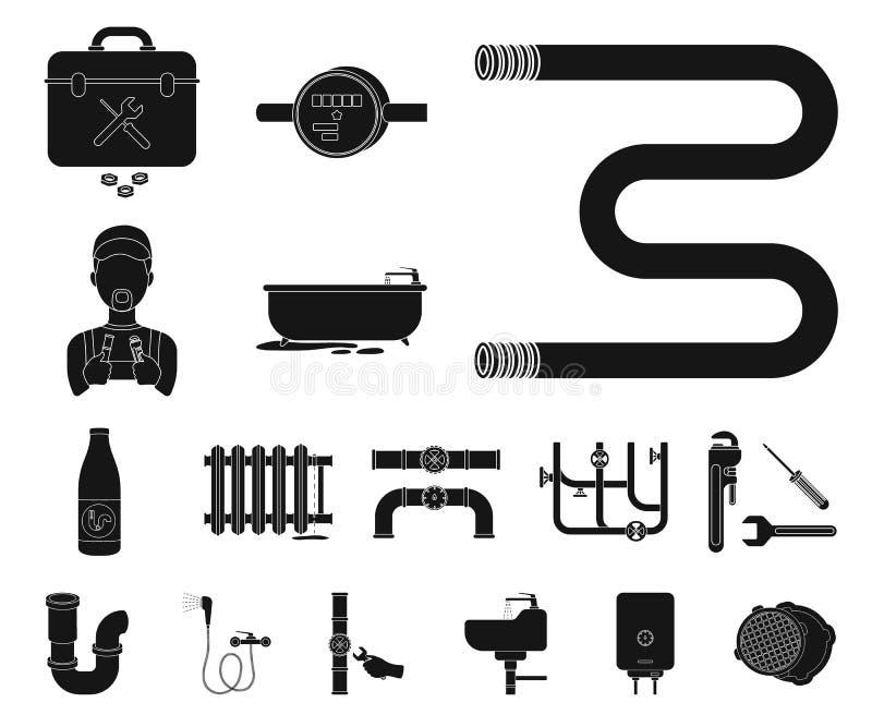 Трубопровод, приспосабливая черные значки в собрании комплекта для дизайна Оборудование и инструменты vector иллюстрация сети зап иллюстрация вектора