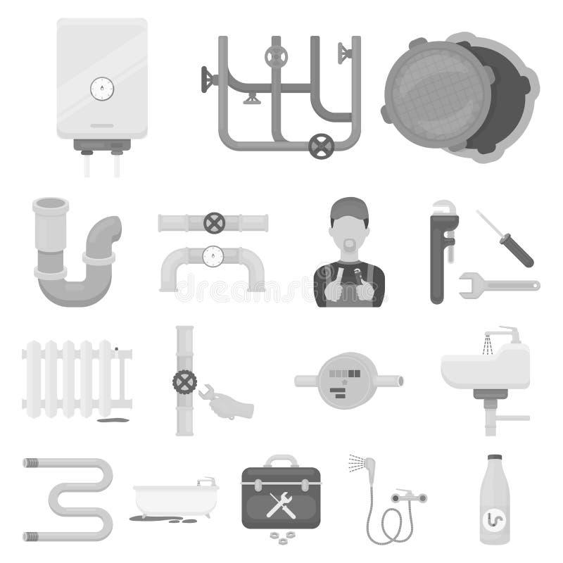 Трубопровод, приспосабливая monochrome значки в собрании комплекта для дизайна Сеть запаса символа вектора оборудования и инструм иллюстрация вектора