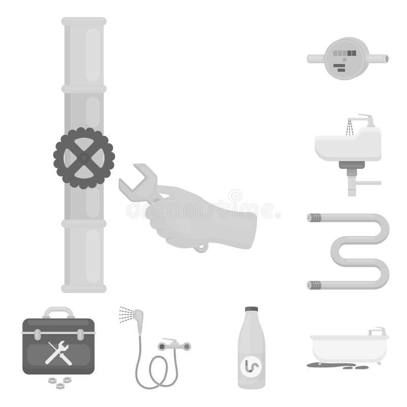 Трубопровод, приспосабливая monochrome значки в собрании комплекта для дизайна Сеть запаса символа вектора оборудования и инструм иллюстрация штока