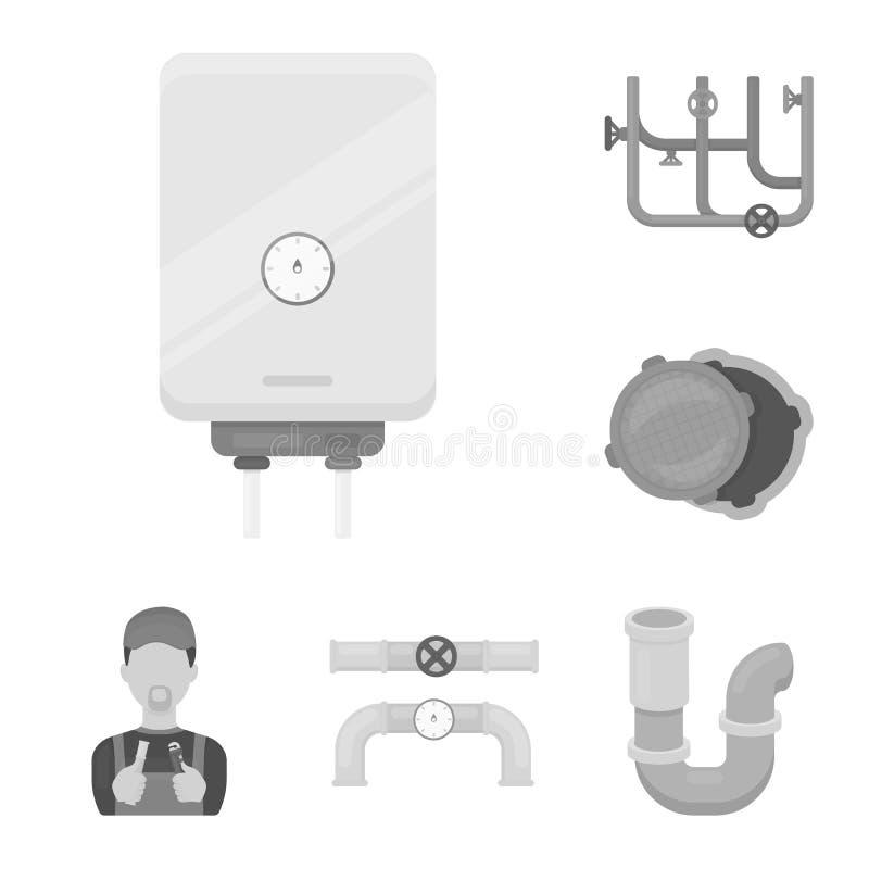 Трубопровод, приспосабливая monochrome значки в собрании комплекта для дизайна Сеть запаса символа вектора оборудования и инструм бесплатная иллюстрация