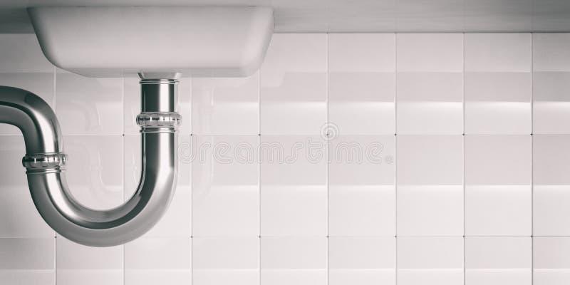 Трубы водопровода под раковиной illustartion 3d стоковое изображение