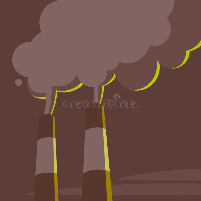Трубы и пар электростанции иллюстрация вектора