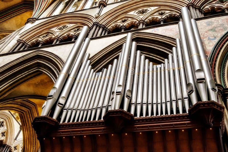 Трубы собора Солсбери Англии Солсбери органа Willis отца стоковые изображения rf
