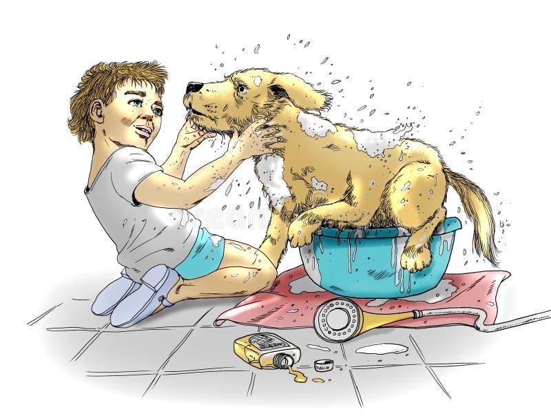 Трудное мытье собаки иллюстрация штока