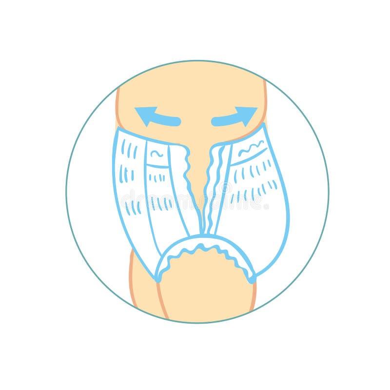 Трусы пеленки для infographics младенца как извлечь трусы пеленки брюки детей, с характеристикой значков Влага иллюстрация вектора