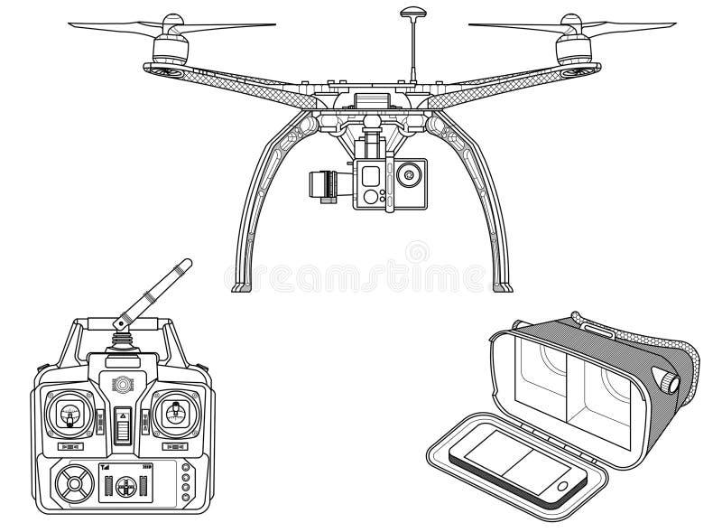 Трутень †Quadcopter «с оборудованием иллюстрация штока