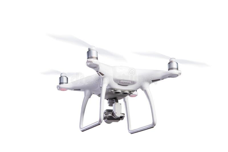 Трутень вертолета летания с камерой Изолированная съемка студии стоковая фотография