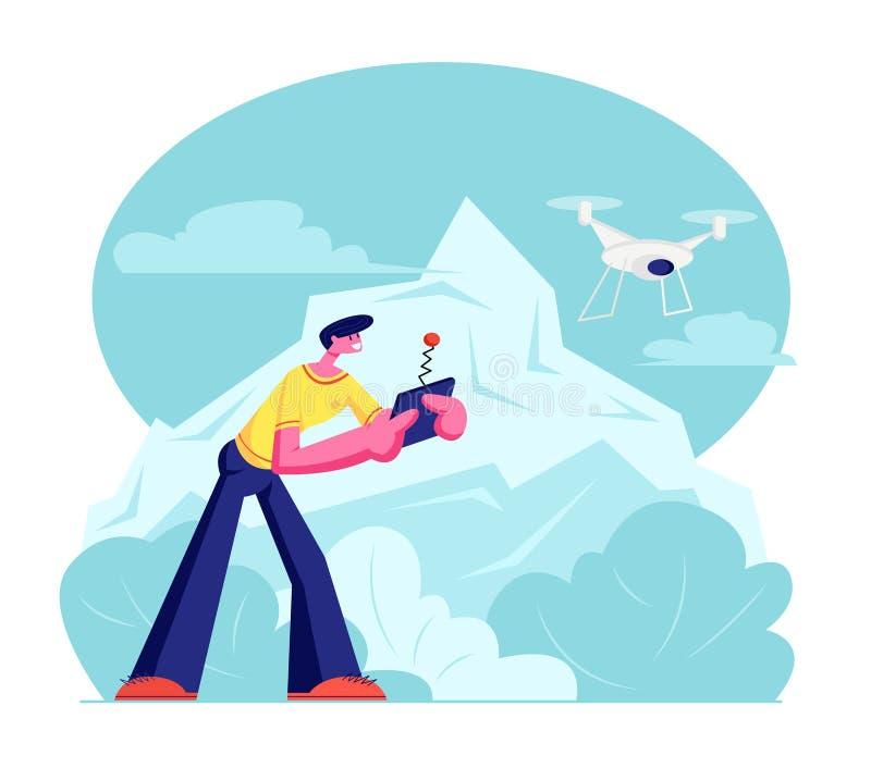 Трутень летая молодого человека наблюдая и проводя иллюстрация штока