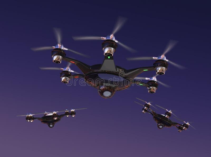 Трутень с летанием камеры слежения в ночном небе бесплатная иллюстрация