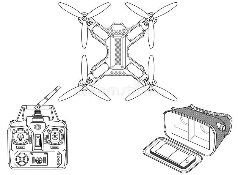 Трутень с шестерней VR иллюстрация штока