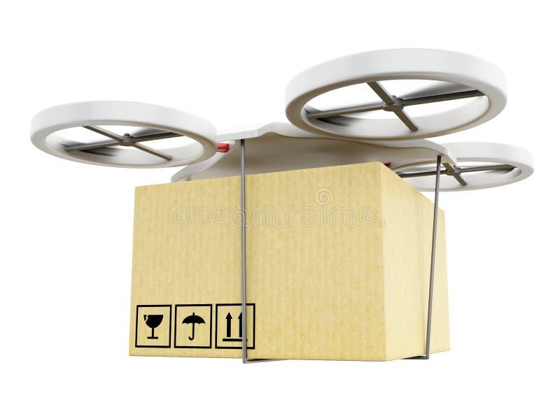 трутень 3D нося картонную коробку иллюстрация вектора
