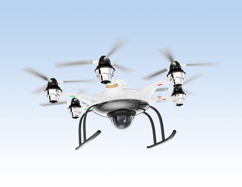 Трутень Hexacopter при камера слежения завиша в небе иллюстрация штока