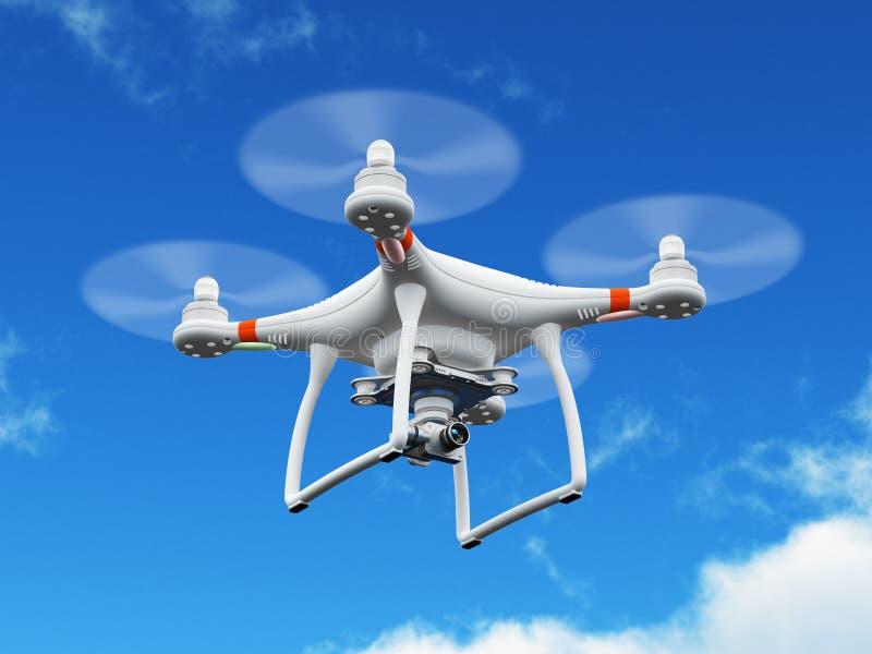 Трутень Quadcopter с летанием видеокамеры 4K в воздухе иллюстрация вектора