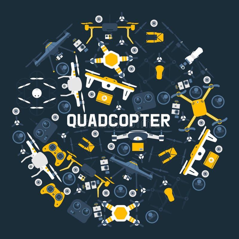 Трутни воздуха картины круга Quadrocopters, и иллюстрация вектора робота беспроводного полета трутней дистанционного управления в иллюстрация штока