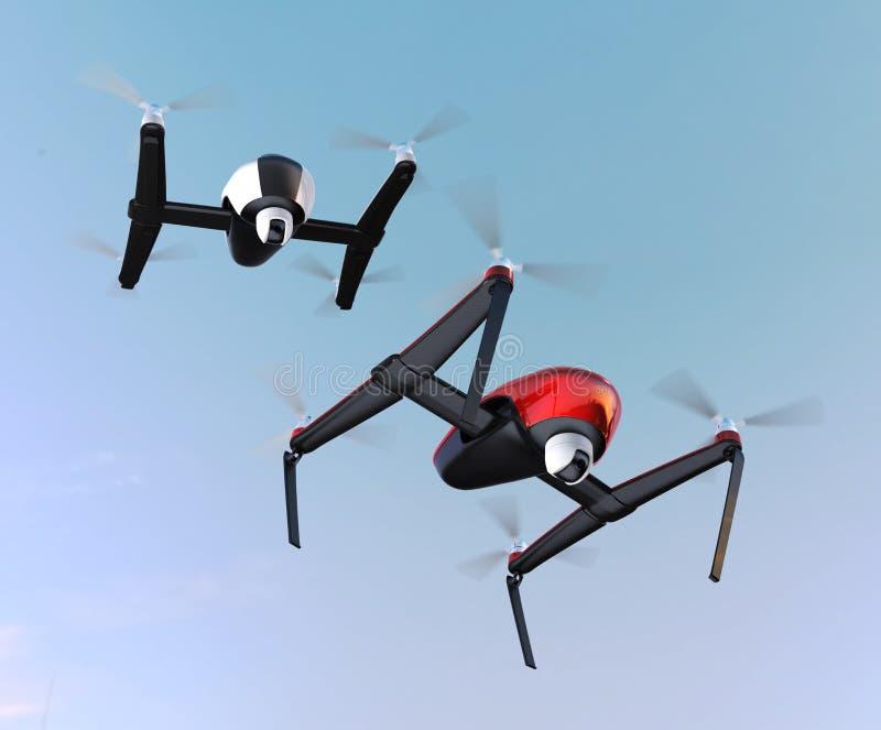 Трутни с камерой в небе, красный трутень подготавливают к приземляться иллюстрация вектора