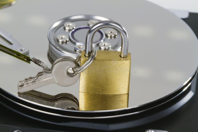 Трудный привод с padlock стоковая фотография rf