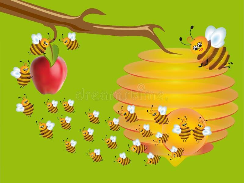Трудолюбивые пчелы в саде. иллюстрация вектора