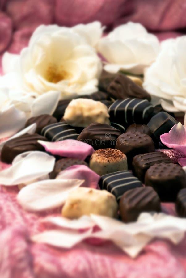 Трюфеля шоколада и розовые лепестки 02 стоковое фото rf