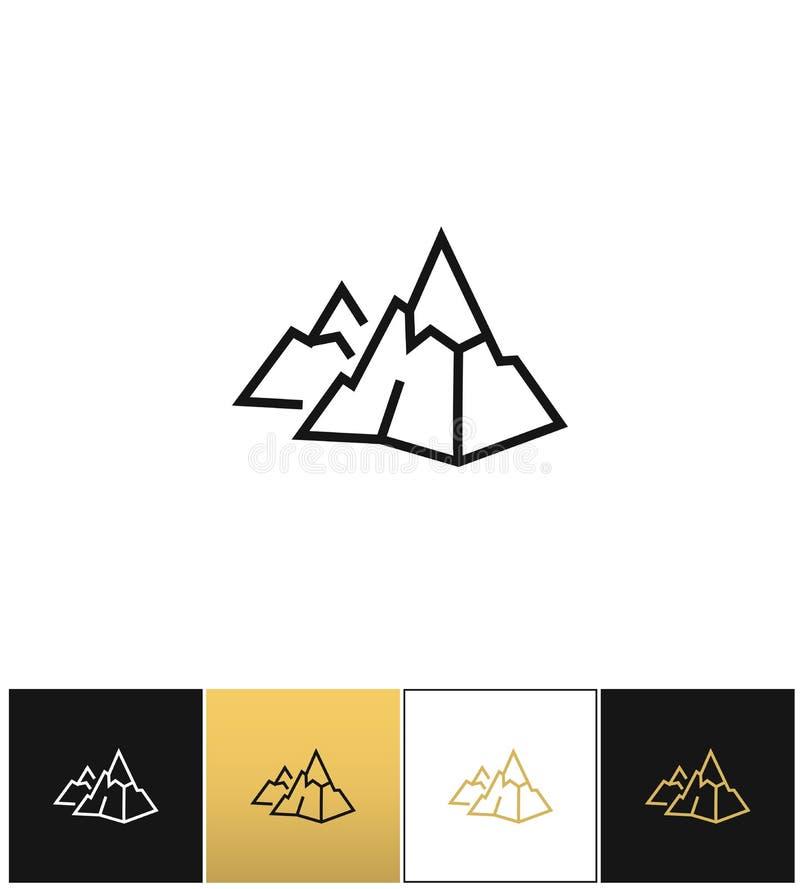 Тряхните значок вектора логотипа или горы каменный линейный иллюстрация штока