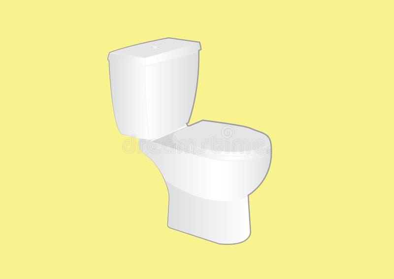 Туалет в желтой предпосылке Иллюстрация вектора, изолировала бесплатная иллюстрация